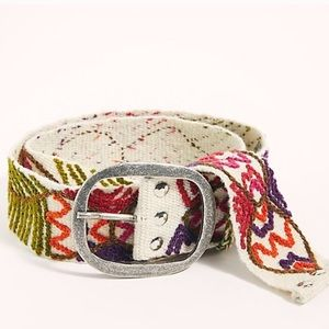 New Free People White Elba Embroidered Belt